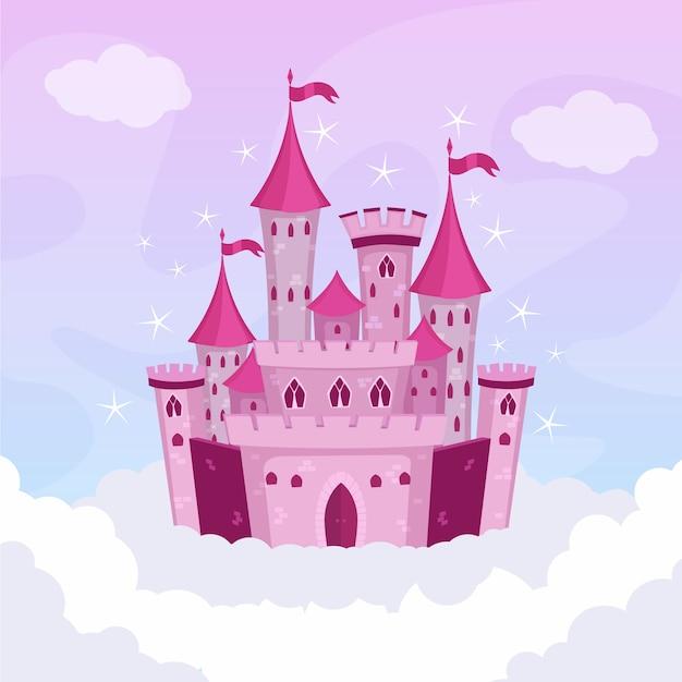 Ilustrowany Bajkowy Zamek Darmowych Wektorów