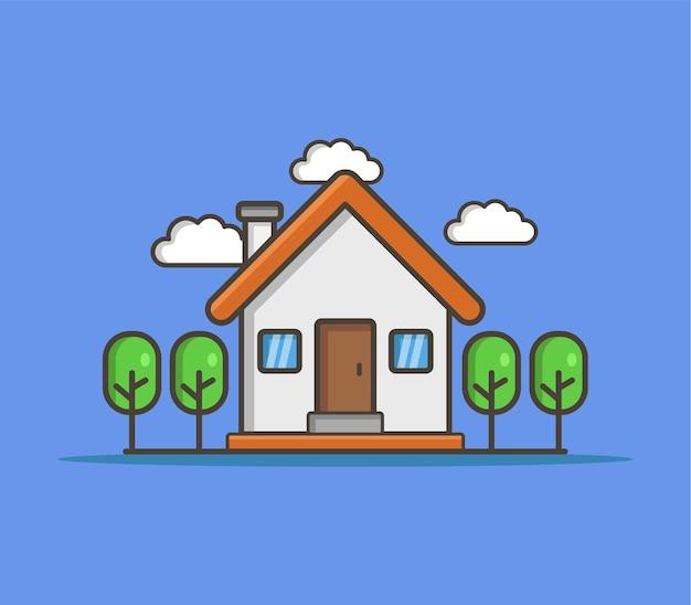 Ilustrowany Dom Darmowych Wektorów
