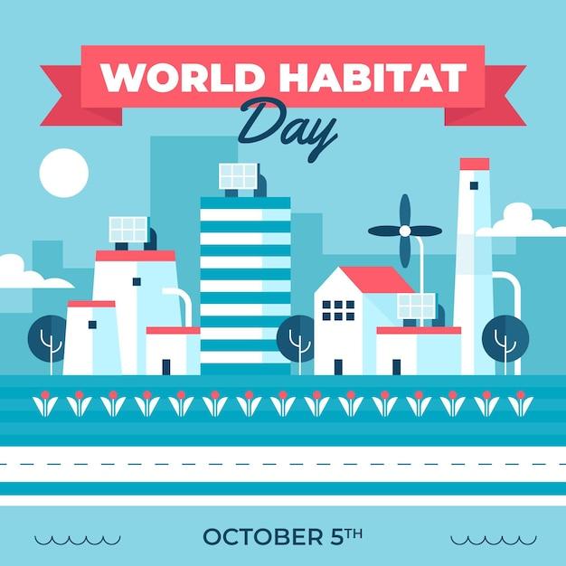 Ilustrowany Dzień Siedlisk Płaskiego świata Darmowych Wektorów
