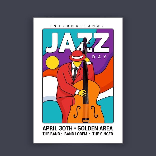 Ilustrowany Plakat Z Okazji Międzynarodowego Dnia Jazzu Darmowych Wektorów