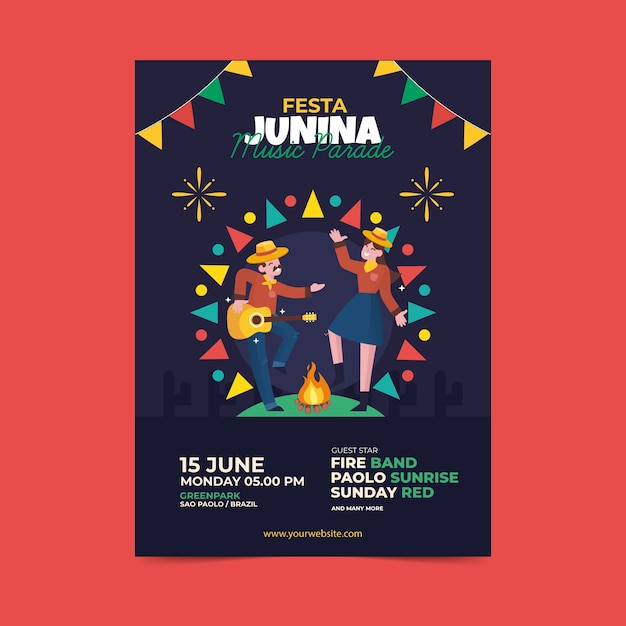 Ilustrowany Płaski Plakat Festa Junina Darmowych Wektorów