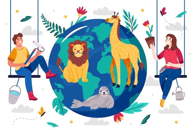 Ilustrowany Pomysł Na Uratowanie Planety Darmowych Wektorów