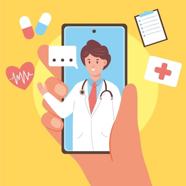 Ilustrowany Projekt Lekarza Online Darmowych Wektorów