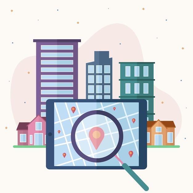 Ilustrowany Projekt Wyszukiwania Nieruchomości Darmowych Wektorów