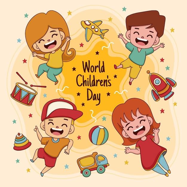 Ilustrowany Ręcznie Rysowane światowy Dzień Dziecka Premium Wektorów