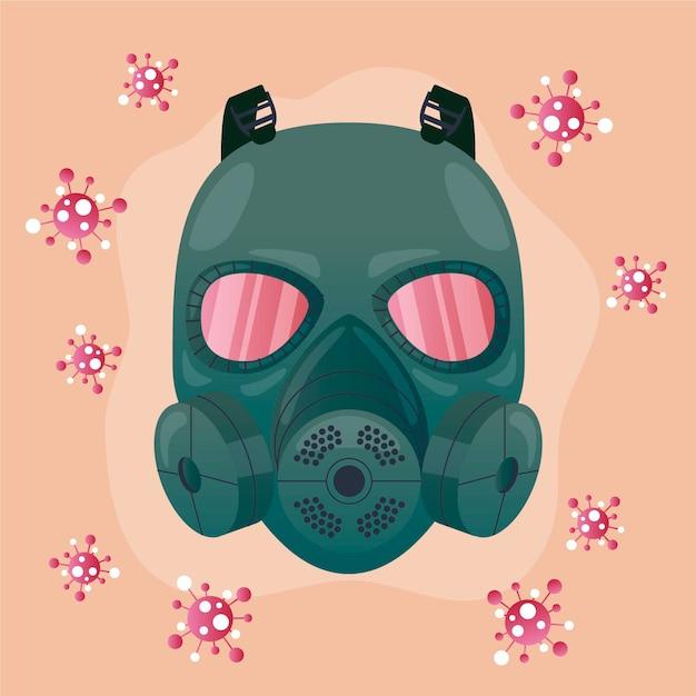 Ilustrowany Respirator Z Maską Gazową Premium Wektorów