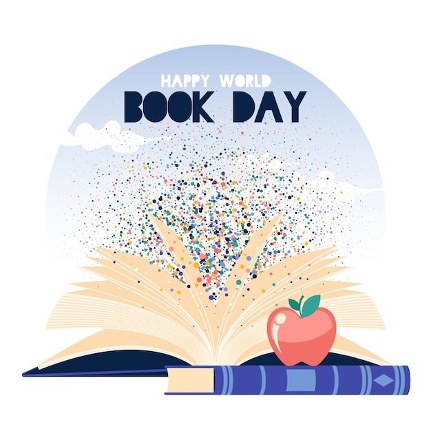 Ilustrowany światowy Dzień Książki Darmowych Wektorów