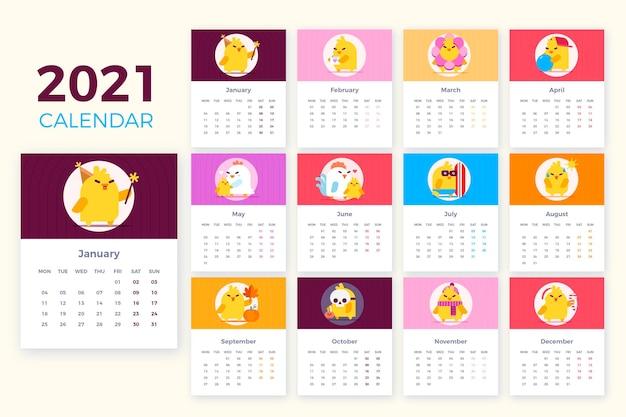 Ilustrowany Szablon Kalendarza 2021 Darmowych Wektorów
