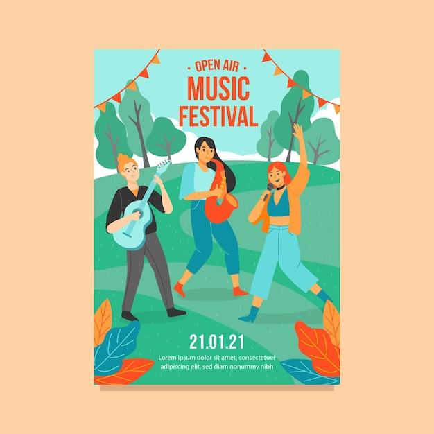 Ilustrowany Szablon Plakatu Festiwalu Muzyki Na świeżym Powietrzu Darmowych Wektorów