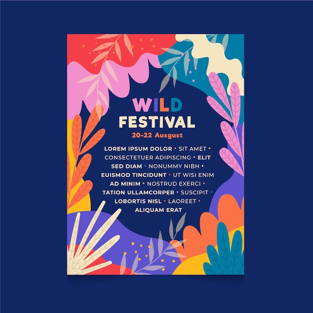 Ilustrowany Szablon Plakatu Festiwalu Muzyki Premium Wektorów