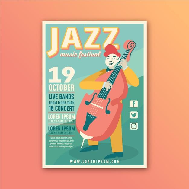 Ilustrowany Szablon Plakatu Festiwalu Muzyki Darmowych Wektorów