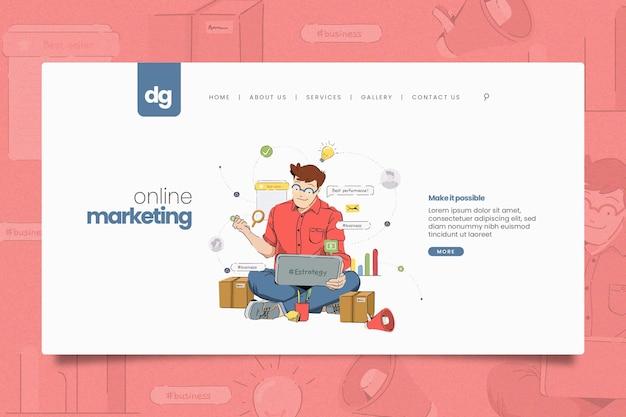 Ilustrowany Szablon Sieciowy Do Marketingu Online Darmowych Wektorów