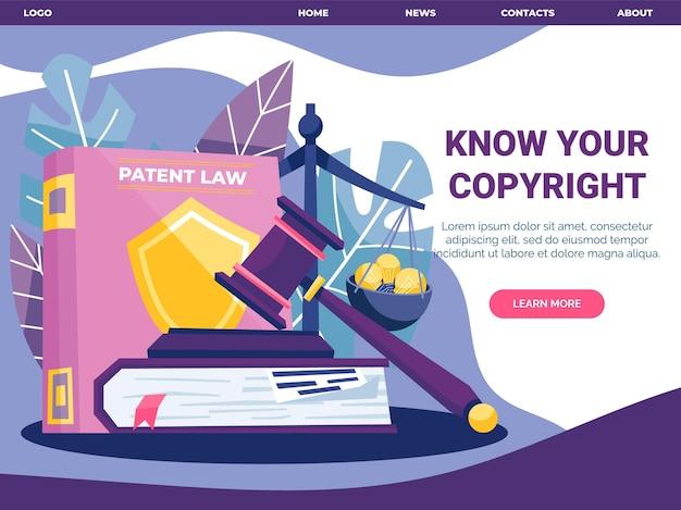 Ilustrowany Szablon Strony Docelowej Dla Praw Autorskich Darmowych Wektorów