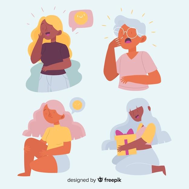 Ilustrowany Zestaw Emocji Ludzi Darmowych Wektorów