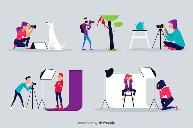 Ilustrowany zestaw fotografów pracujących Darmowych Wektorów