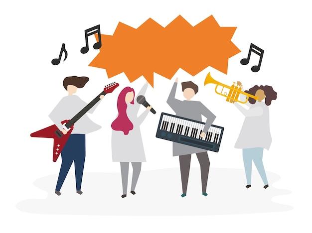 Ilustrowany Znajomi Grający Razem Muzykę Premium Wektorów