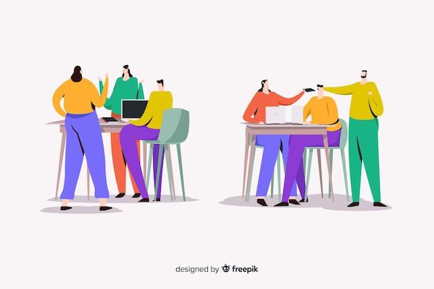 Ilustruje pracowników biurowych siedzących przy biurkach Darmowych Wektorów