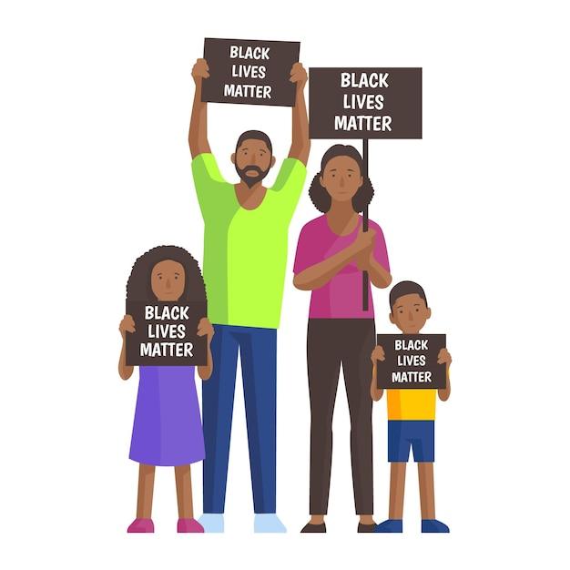 Ilustruje Się Ludzi Protestujących Przeciwko Dyskryminacji Rasowej Darmowych Wektorów