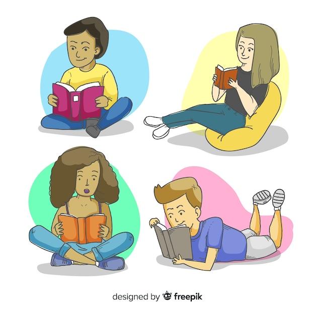 Ilustruje się młodych ludzi czytających razem Darmowych Wektorów