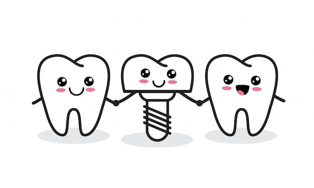 Implant Dentystyczny. śliczne Zdrowe Zęby I Implanty. Premium Wektorów