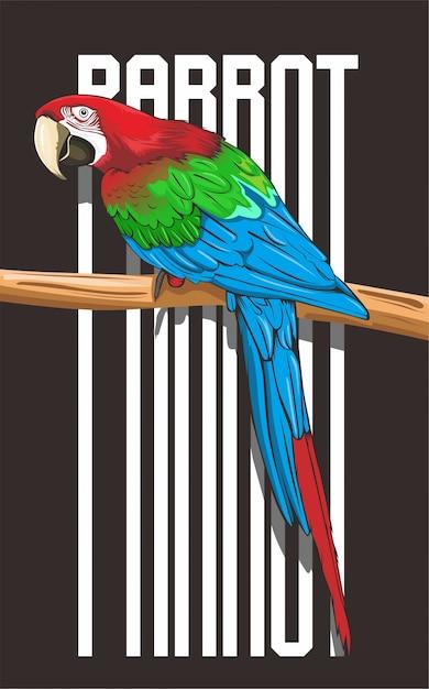 Imponująca ilustracja papugi Premium Wektorów