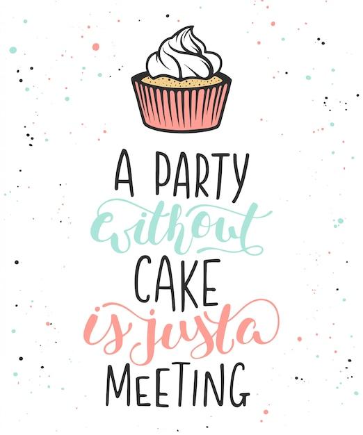 Impreza bez ciasta to tylko spotkanie Premium Wektorów
