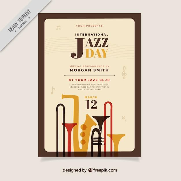 Impreza Jazz Plakat Z Instrumentami Muzycznymi Wektor