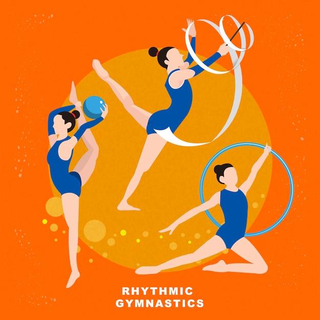 Impreza Letnia Gimnastyka Artystyczna W Stylu Płaski Premium Wektorów