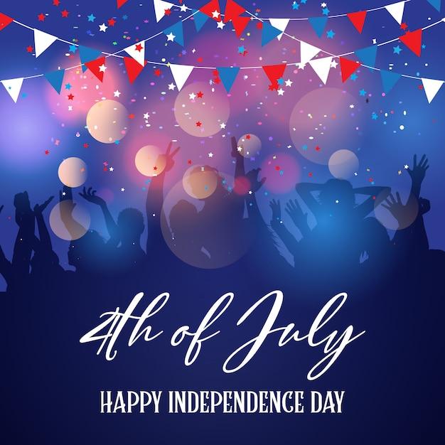 Imprezowy tłum na 4 lipca święto niepodległości Darmowych Wektorów
