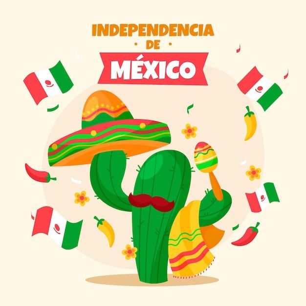 Independencia De Mexico Z Kaktusem I Kapeluszem Darmowych Wektorów