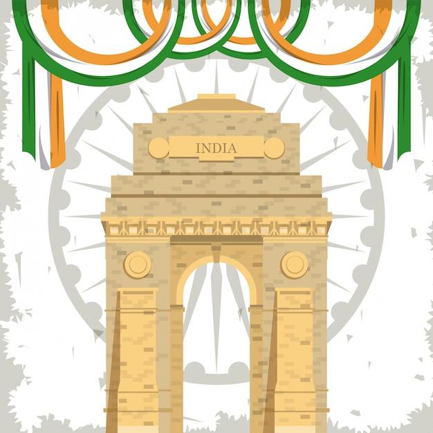 India bramy pomnikowy budynek z flaga Darmowych Wektorów