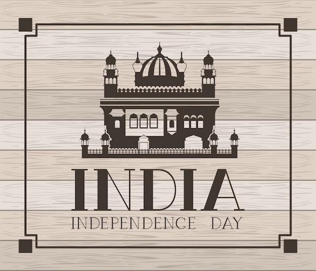 Indiańska amritsar złota świątynia z drewnianym Darmowych Wektorów