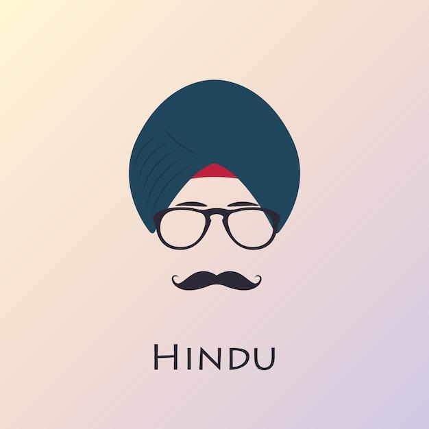 Indiański Mężczyzna Z Czarnym Wąsem I Szkłami. Premium Wektorów