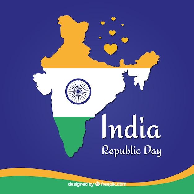 Indiański Republika Dnia Tło Z Mapą Darmowych Wektorów