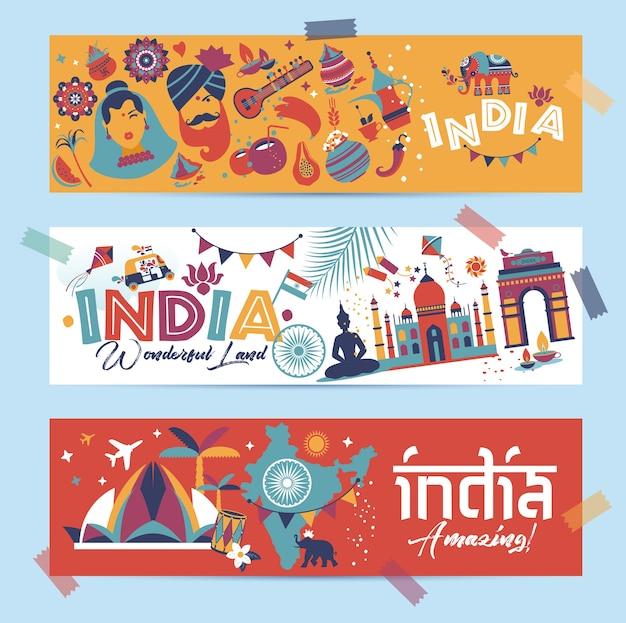 Indie Ustawić Kraj Azjatycki Architektura Indyjska Tradycje Azjatyckie Buddyzm Podróżują Izolowane Ikony I Symbole W 3 Banerach. Premium Wektorów