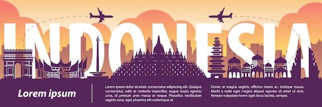 Indonezja słynny styl sylwetka punkt orientacyjny Premium Wektorów