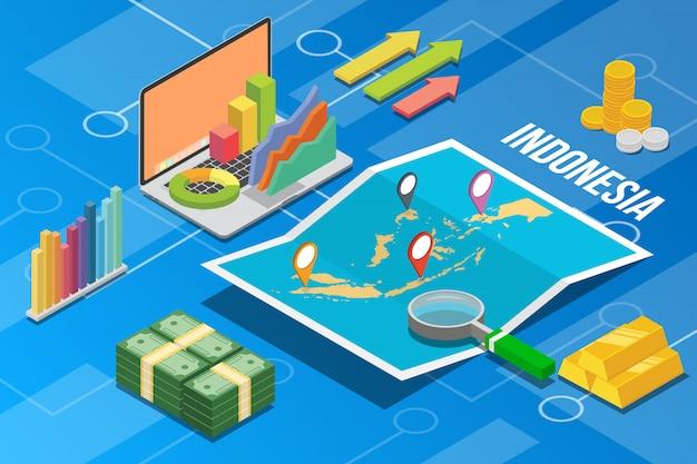 Indonezja wzrost gospodarczy gospodarki kraju Premium Wektorów