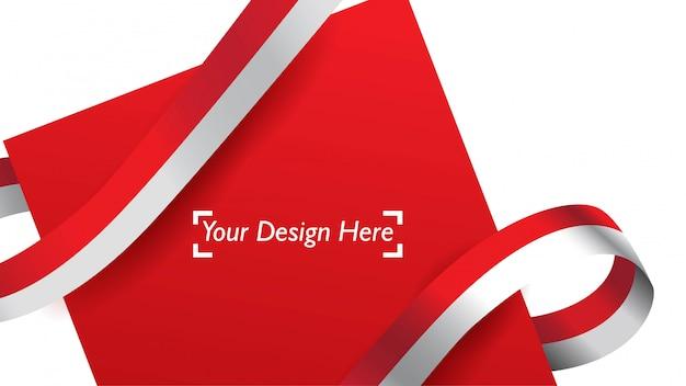 Indonezyjski patriotyczny tło szablon z pustą przestrzenią dla teksta, projekta, wakacji, dnia niepodległości. Premium Wektorów
