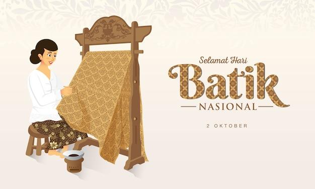 Indonezyjski świąteczny Dzień Batiku Ilustracji. Premium Wektorów