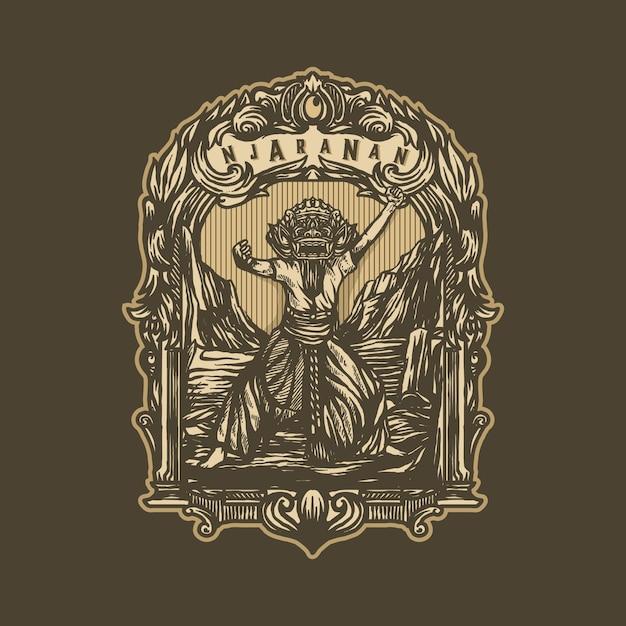 Indonezyjski sztuka rocznika logo szablon wektor Premium Wektorów