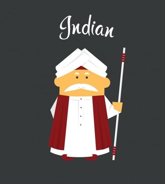 Indyjski Man Flat Ilustracja Darmowych Wektorów