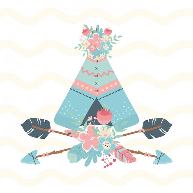 Indyjski namiot w stylu boho w kwiaty i strzały Premium Wektorów