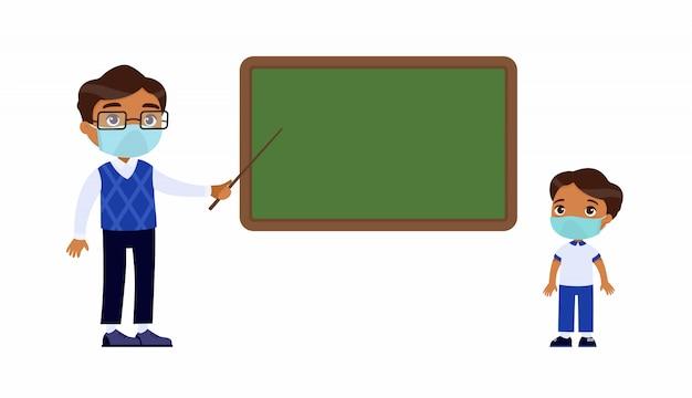 Indyjski Nauczyciel I Uczeń Szkoły Podstawowej Z Maskami Ochronnymi Na Twarzach. Darmowych Wektorów