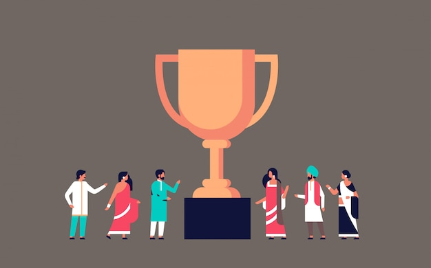 Indyjski zwycięzca pucharu złote trofeum pierwsze miejsce banner Premium Wektorów