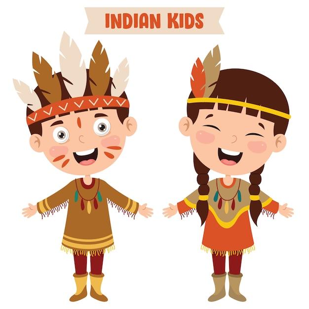 Indyjskie Dzieci Noszące Tradycyjne Stroje Premium Wektorów