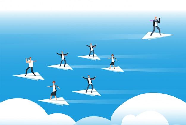 Indywidualne Myślenie I Nowy Kierunek. Biznesmeni Stojący Na Papierowych Samolotach. Unikalne Rozwiązania I Uwierz Sobie Premium Wektorów