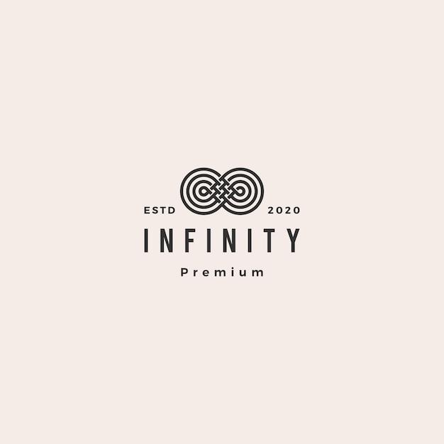 Infinity Mobius Logo Ikona Hipster Vintage Retro Premium Wektorów