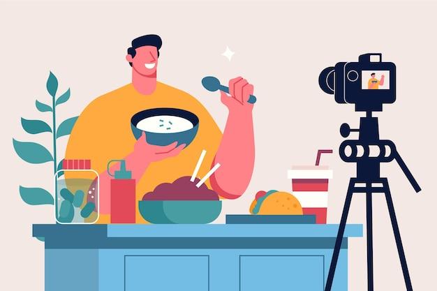 Influencer Nagrywa Nową Ilustrację Wideo Darmowych Wektorów