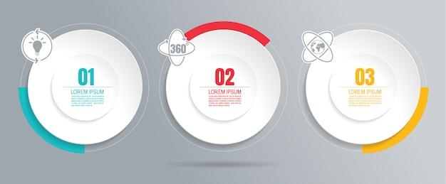 Infograficzne Dane Biznesowe Z 3 Krokami Premium Wektorów