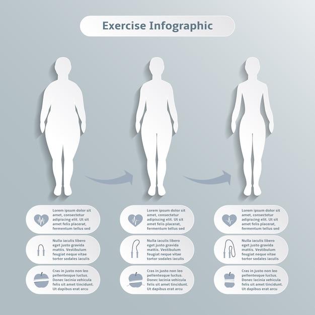 Infograficzne Elementy Dla Kobiet Fitness I Sportu Szczupłość Utrata Masy Ciała I Opieki Zdrowotnej Ilustracji Wektorowych Darmowych Wektorów
